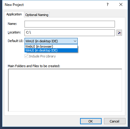 Setting the default UI when creating a new project